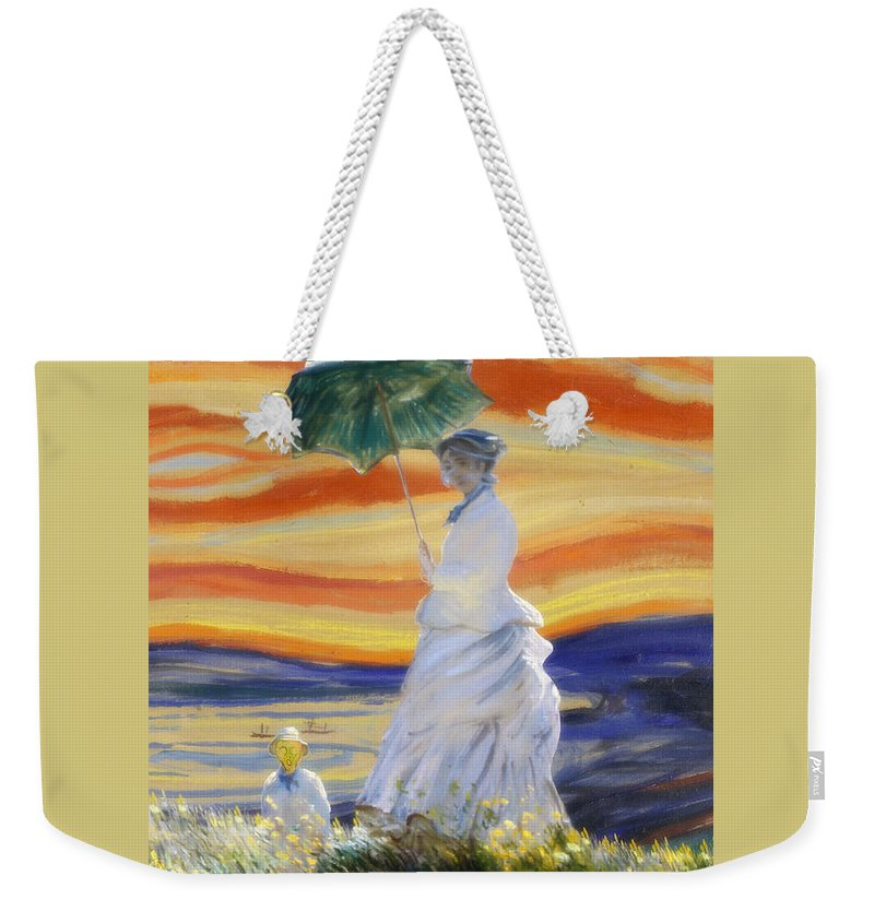 Monet Weekender Tote Bag featuring the painting Ms Monet And Red Skies by Gravityx9 Designs