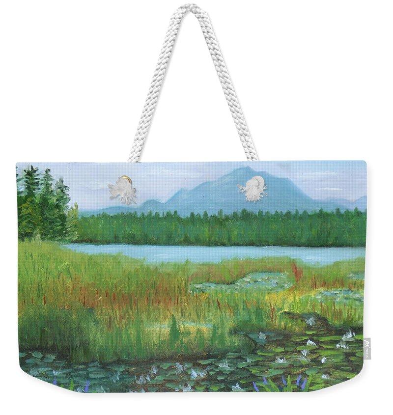 Adirondacks Weekender Tote Bag featuring the painting Mt Ampersand From Oseetah Lake by Robert P Hedden