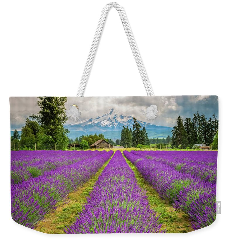 Oregon Weekender Tote Bag featuring the photograph Mt. Hood And Lavender by Jean-Claude Ardila