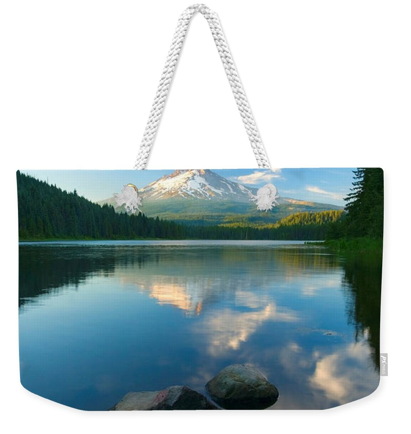 Mt. Hood Weekender Tote Bag featuring the photograph Mt. Hood Cirrus Explosion by Mike Dawson