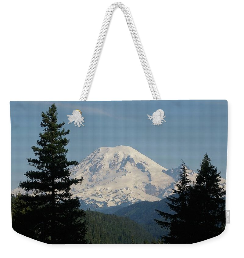 Mt Rainer Weekender Tote Bag featuring the photograph Mt Rainer From The Hills In Packwood Wa by Jeff Swan