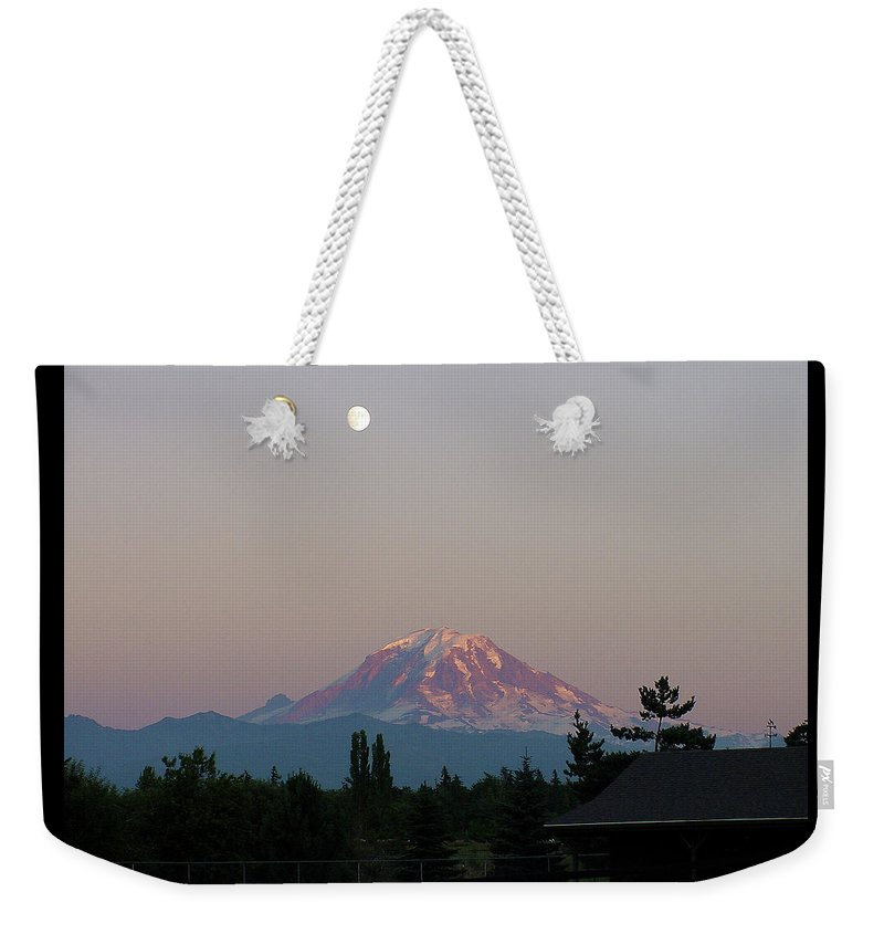 August Weekender Tote Bag featuring the photograph Mt Rainier August Moon by Shirley Heyn