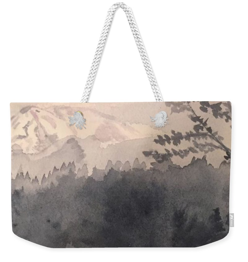Landscape Weekender Tote Bag featuring the painting Mt. Rainier, Wa by Joanne Dour
