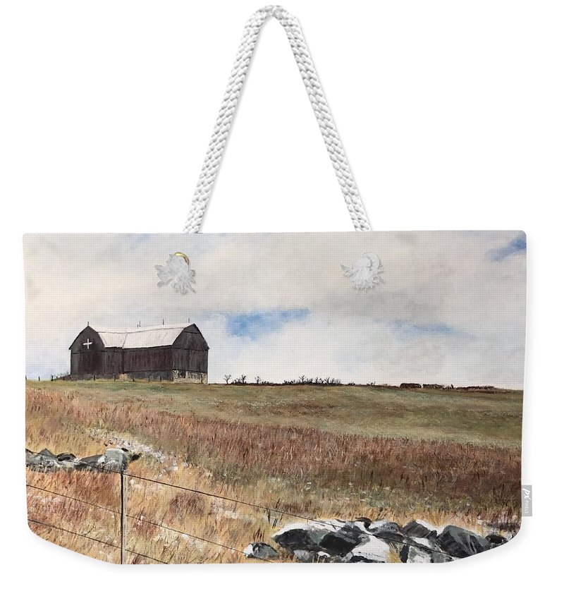Landscape Weekender Tote Bag featuring the painting Mt Savior Barn by Joel Charles
