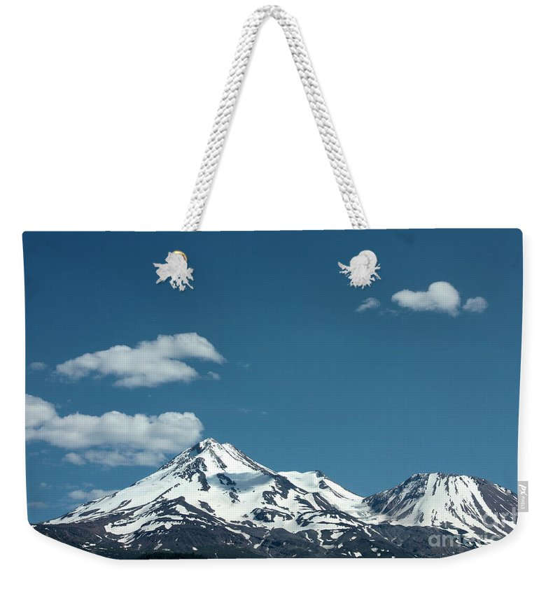 Cloud Weekender Tote Bag featuring the photograph Mt Shasta With Heart-shaped Cloud by Carol Groenen