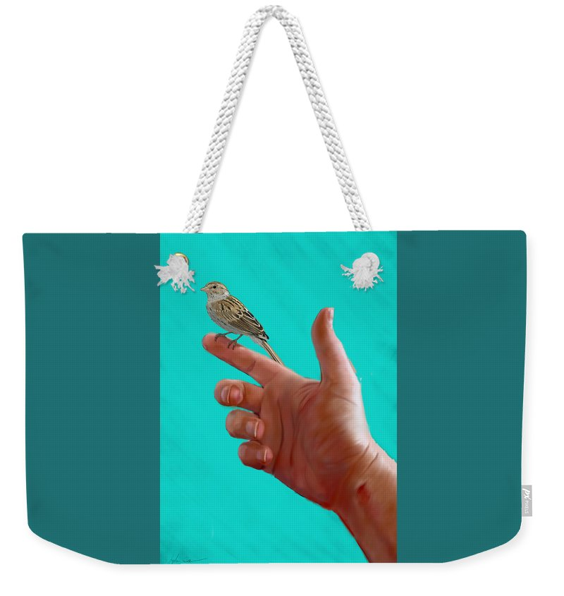 Sparrow Weekender Tote Bag featuring the painting Fear Not  Matt10.31 by John Banman