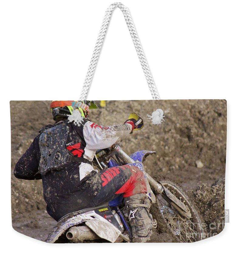Dirt Bike Weekender Tote Bag featuring the photograph Mud Mayhem by Ellen Flayderman
