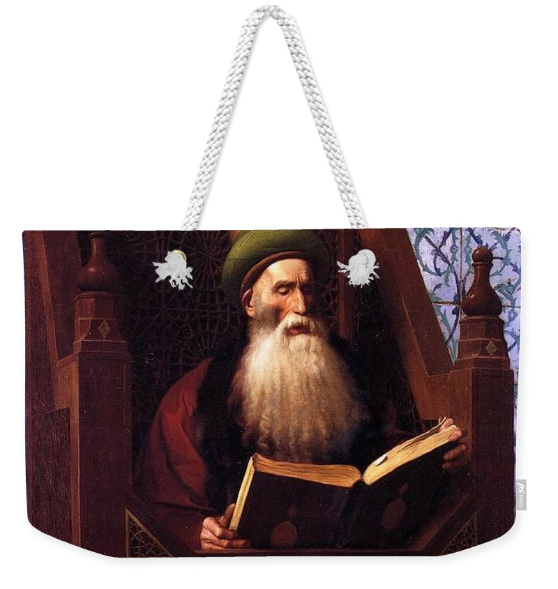 Mufti Reading In His Prayer Stool - Jean-leon Gerome Weekender Tote Bag featuring the painting Mufti Reading In His Prayer Stool by Leon Gerome