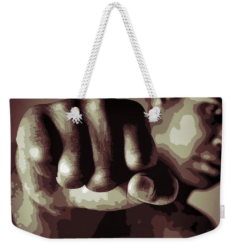 Muhammad Ali Fist Poster Weekender Tote Bag featuring the digital art Muhammad Ali Fist Poster by Dan Sproul