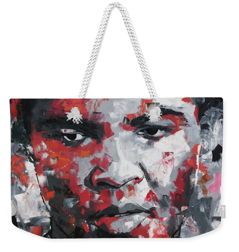 Muhammad Ali Weekender Tote Bag featuring the painting Muhammad Ali II by Richard Day