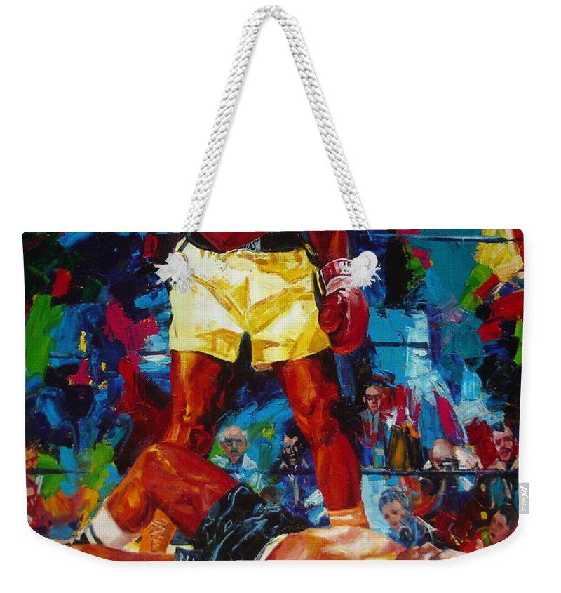 Ignatenko Weekender Tote Bag featuring the painting Muhammad Ali by Sergey Ignatenko