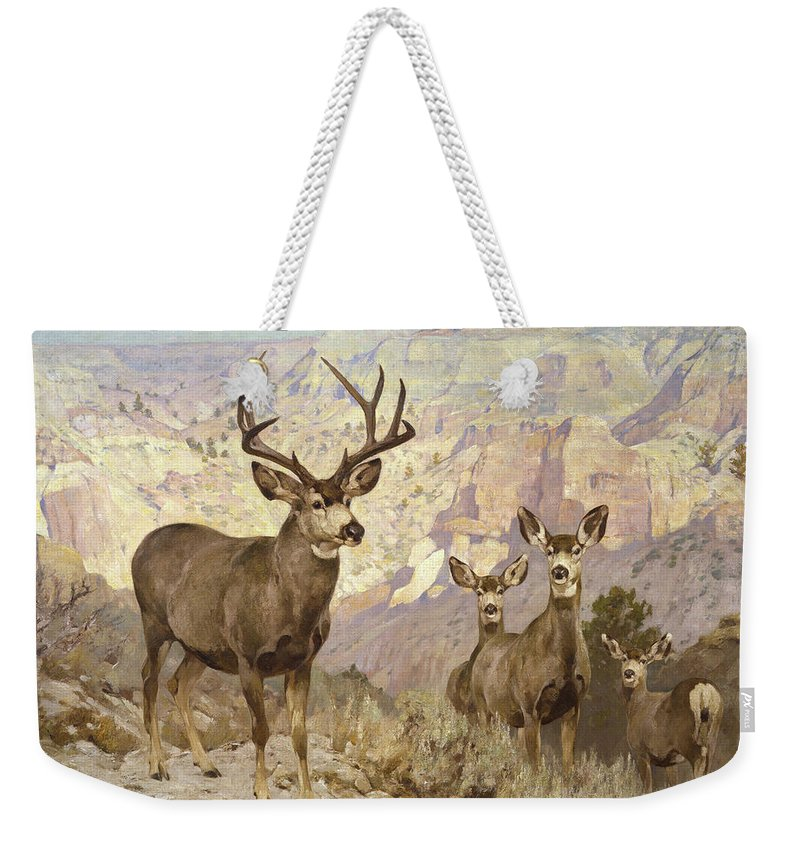 Mule Deer Weekender Tote Bag featuring the painting Mule Deer In The Badlands, Dawson County, Montana by Rungius Carl