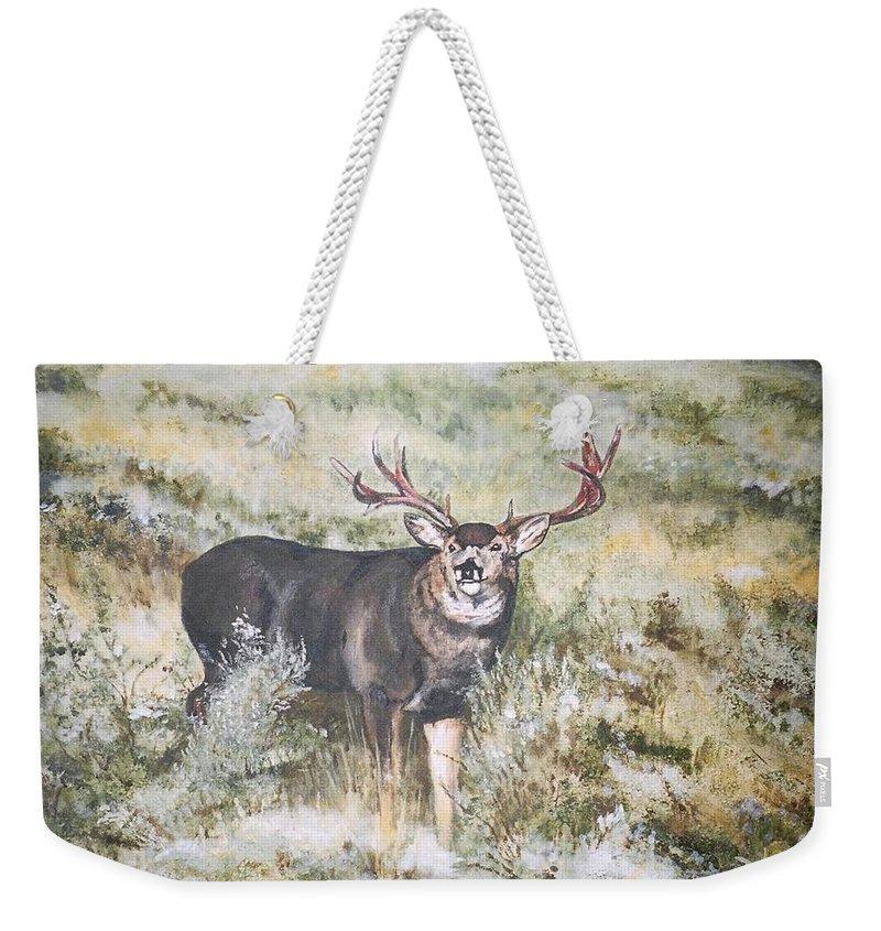 Mule Deer Weekender Tote Bag featuring the painting Muley by Debra Sandstrom