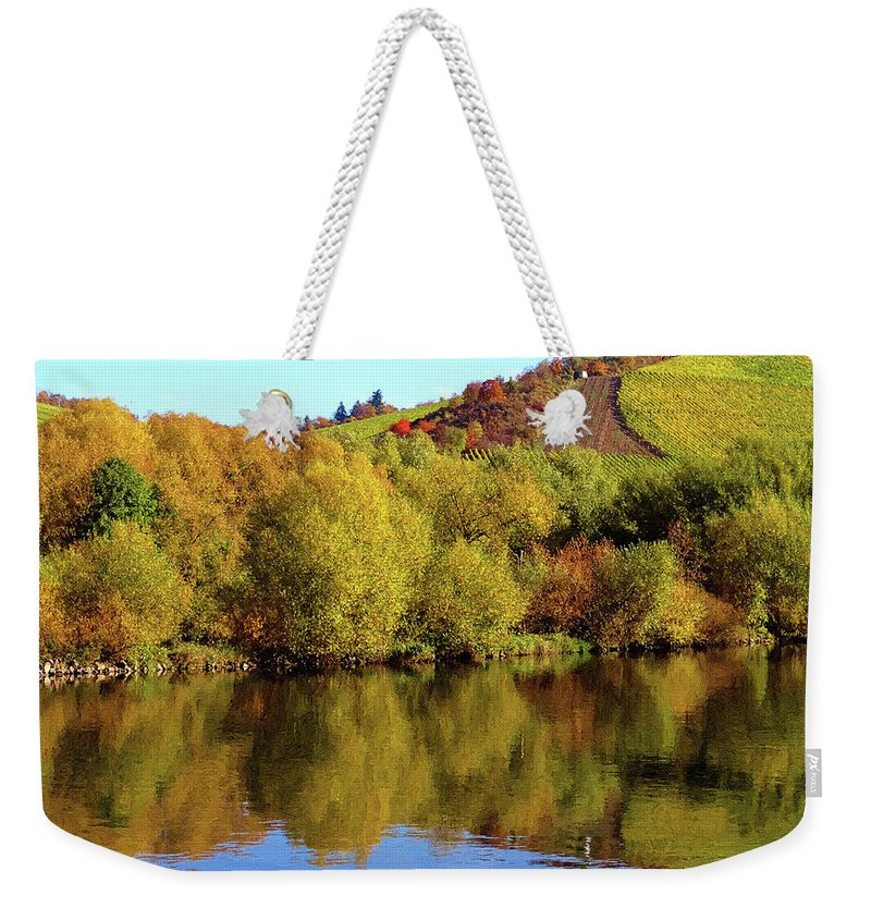 Nature Weekender Tote Bag featuring the digital art Multi-colored Coast by Alex Lim