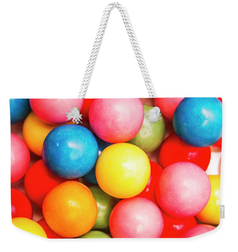 Lolly Weekender Tote Bag featuring the photograph Multi Colored Gumballs. Sweets Background by Jorgo Photography - Wall Art Gallery