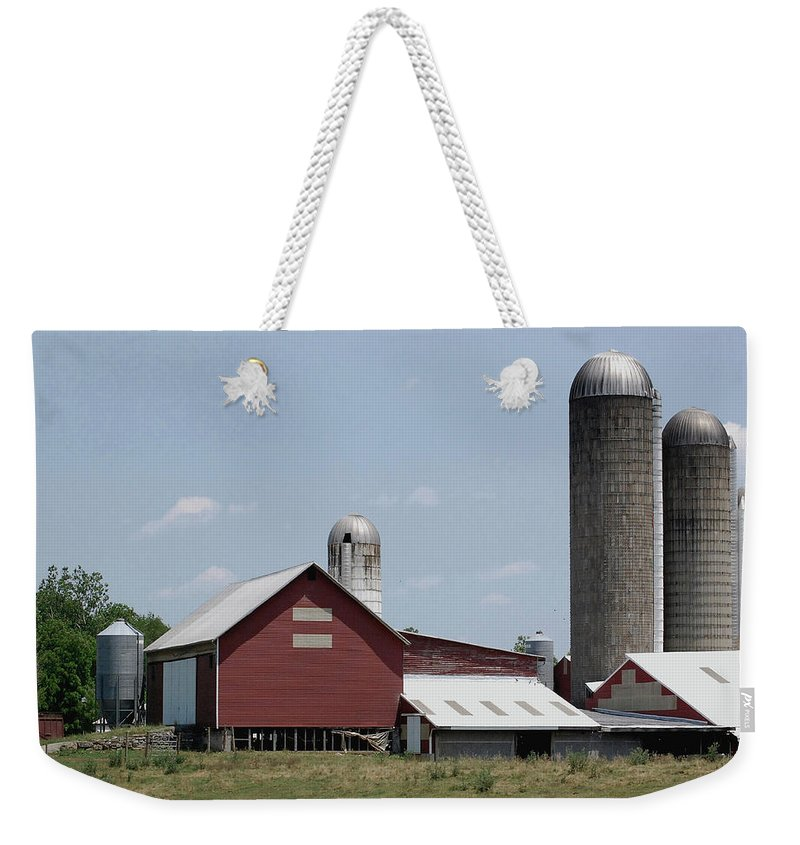 Barn Weekender Tote Bag featuring the digital art Multi Silo Farm by DigiArt Diaries by Vicky B Fuller