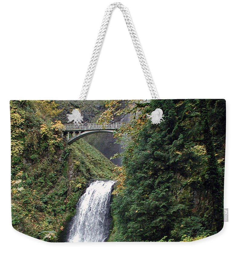 Multnomah Weekender Tote Bag featuring the photograph Multnomah Falls 3 by D'Arcy Evans