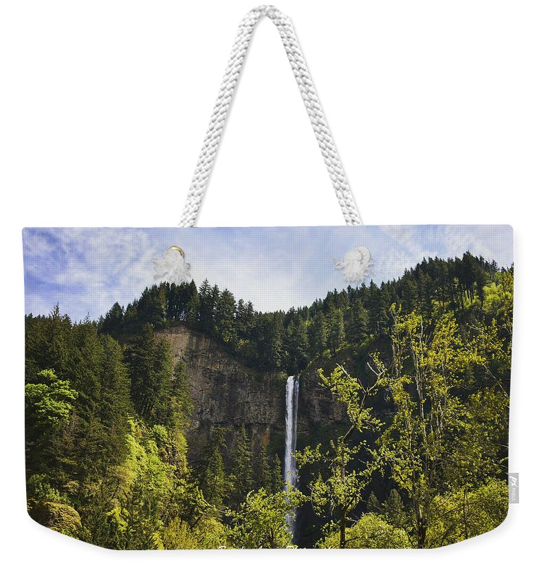 Weekender Tote Bag featuring the photograph Multnomah Falls by Brandon Larson
