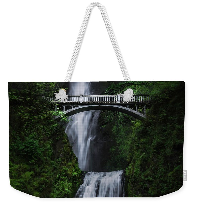 Columbia River Gorge Weekender Tote Bag featuring the photograph Multnomah Falls by Larry Marshall