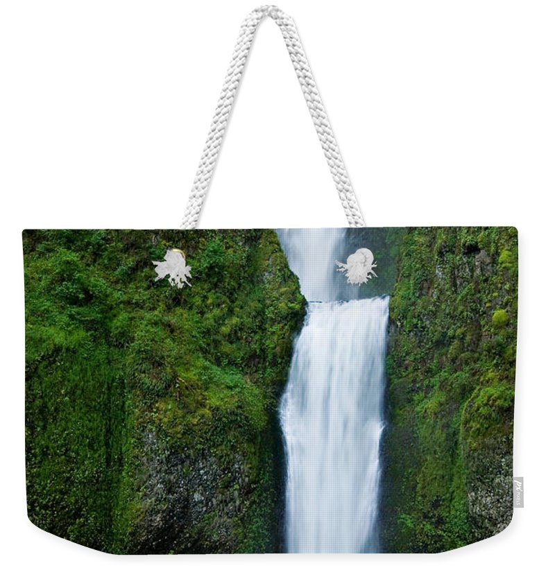 Waterfall Weekender Tote Bag featuring the photograph Multnomah Falls by Renee Hong