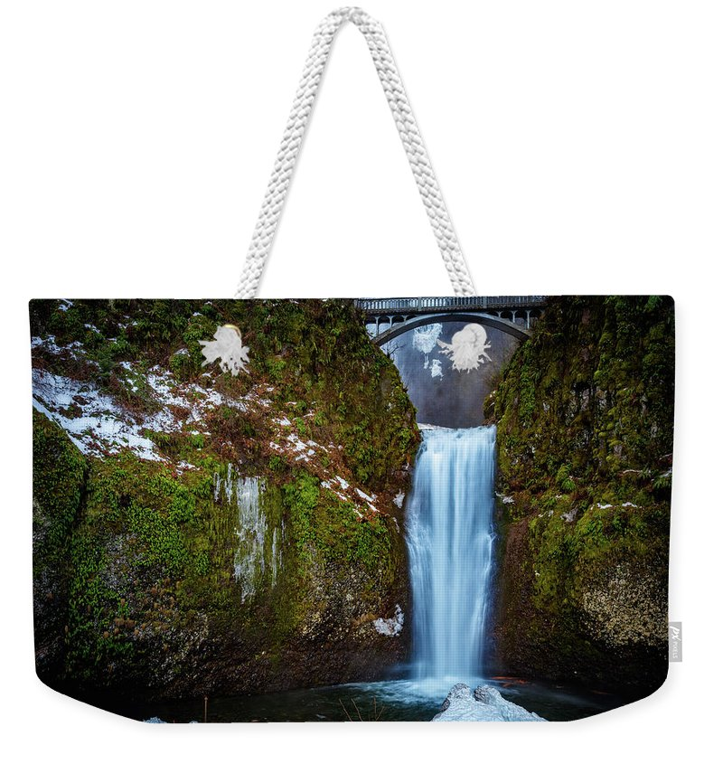 Multnomah Falls Weekender Tote Bag featuring the photograph Multnomah Falls With Ice by Mike Penney