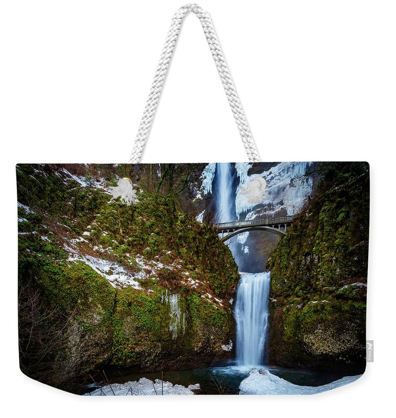 Oregon Weekender Tote Bag featuring the photograph Multnomah Falls With Snow by Mike Penney