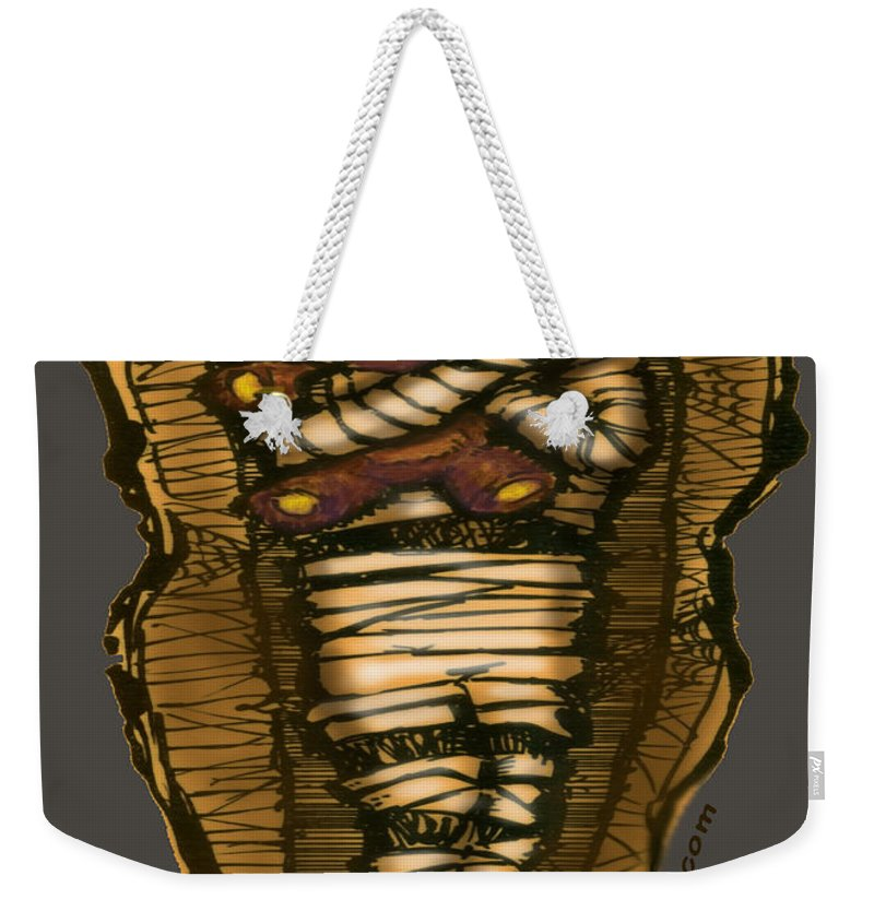 Halloween Weekender Tote Bag featuring the greeting card Mummy And Teddy by Kevin Middleton