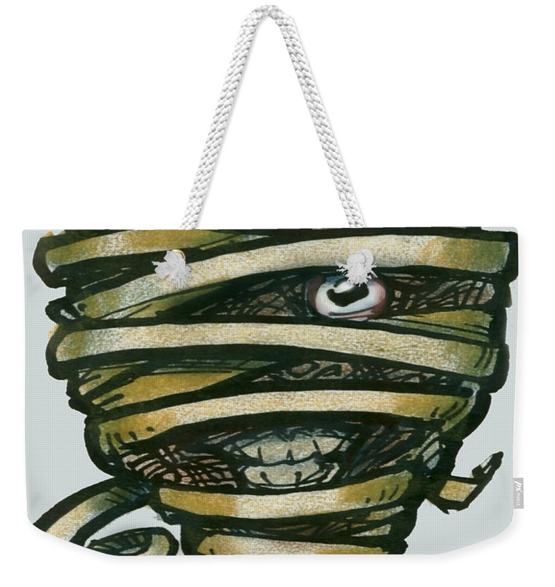Mummy Weekender Tote Bag featuring the greeting card Mummy by Kevin Middleton