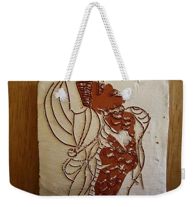 Jesus Weekender Tote Bag featuring the ceramic art Mums Ahead - Tile by Gloria Ssali