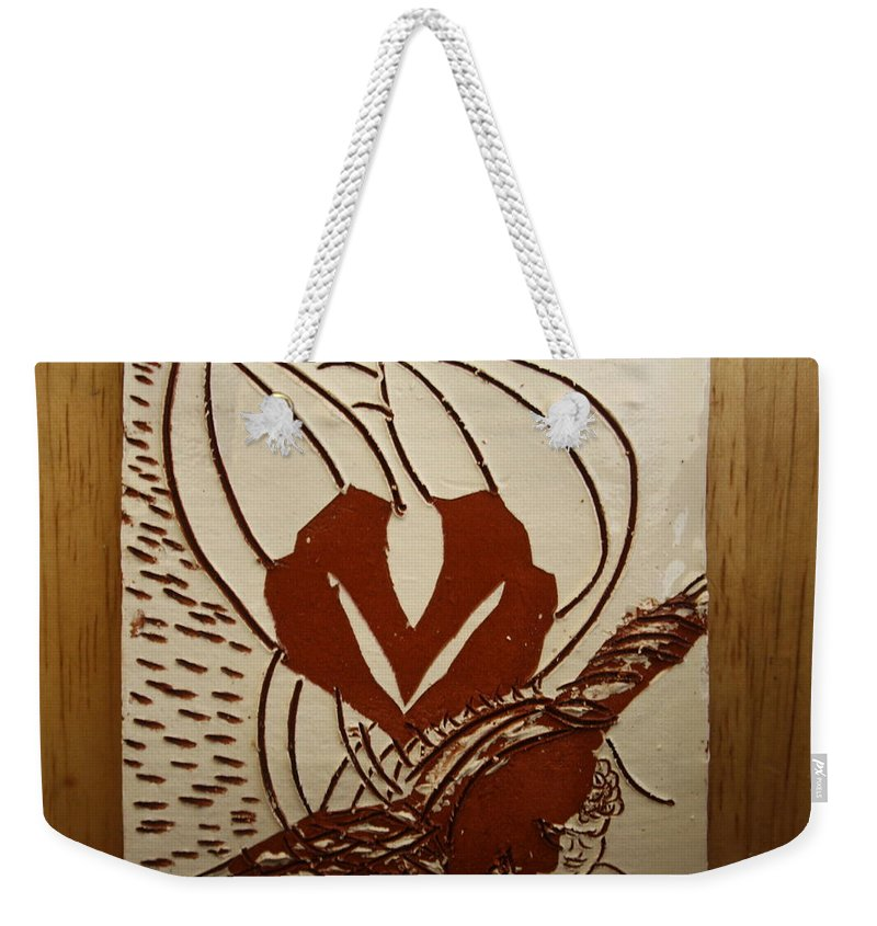 Jesus Weekender Tote Bag featuring the ceramic art Mums Around - Tile by Gloria Ssali