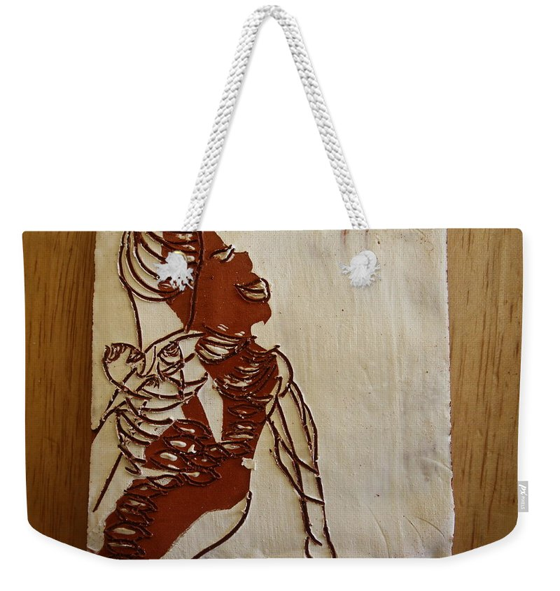 Jesus Weekender Tote Bag featuring the ceramic art Mums Bliss - Tile by Gloria Ssali