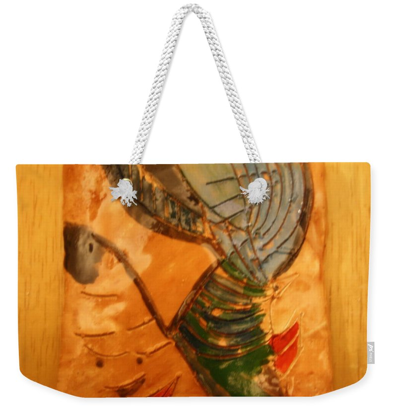 Jesus Weekender Tote Bag featuring the ceramic art Mums Fave - Tile by Gloria Ssali
