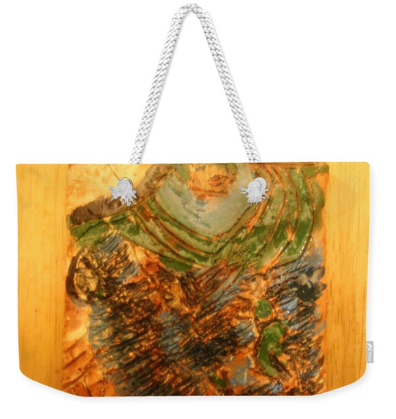 Jesus Weekender Tote Bag featuring the ceramic art Mums Handful - Tile by Gloria Ssali
