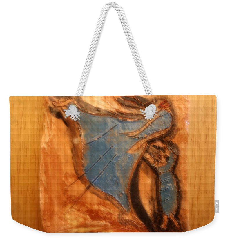 Jesus Weekender Tote Bag featuring the ceramic art Mums Leap - Tile by Gloria Ssali