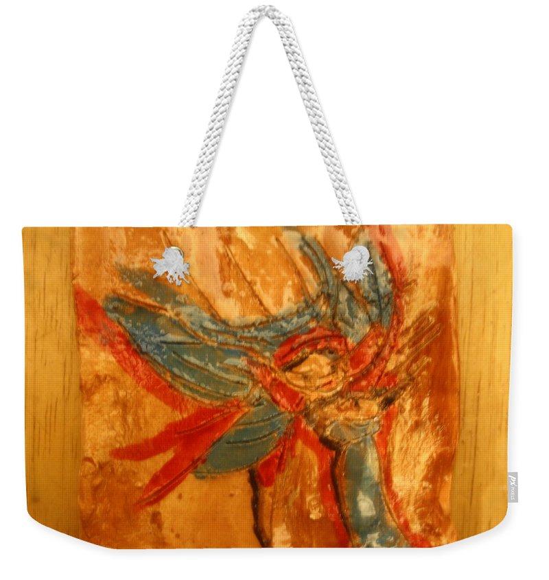 Jesus Weekender Tote Bag featuring the ceramic art Mums Little Cygnet - Tile by Gloria Ssali