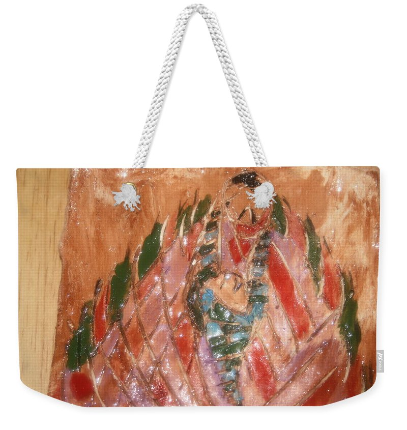 Jesus Weekender Tote Bag featuring the ceramic art Mums Quilt - Tile by Gloria Ssali