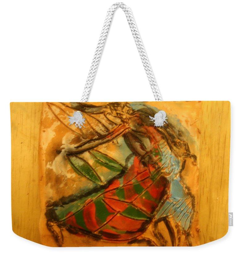 Jesus Weekender Tote Bag featuring the ceramic art Mums Secret - Tile by Gloria Ssali
