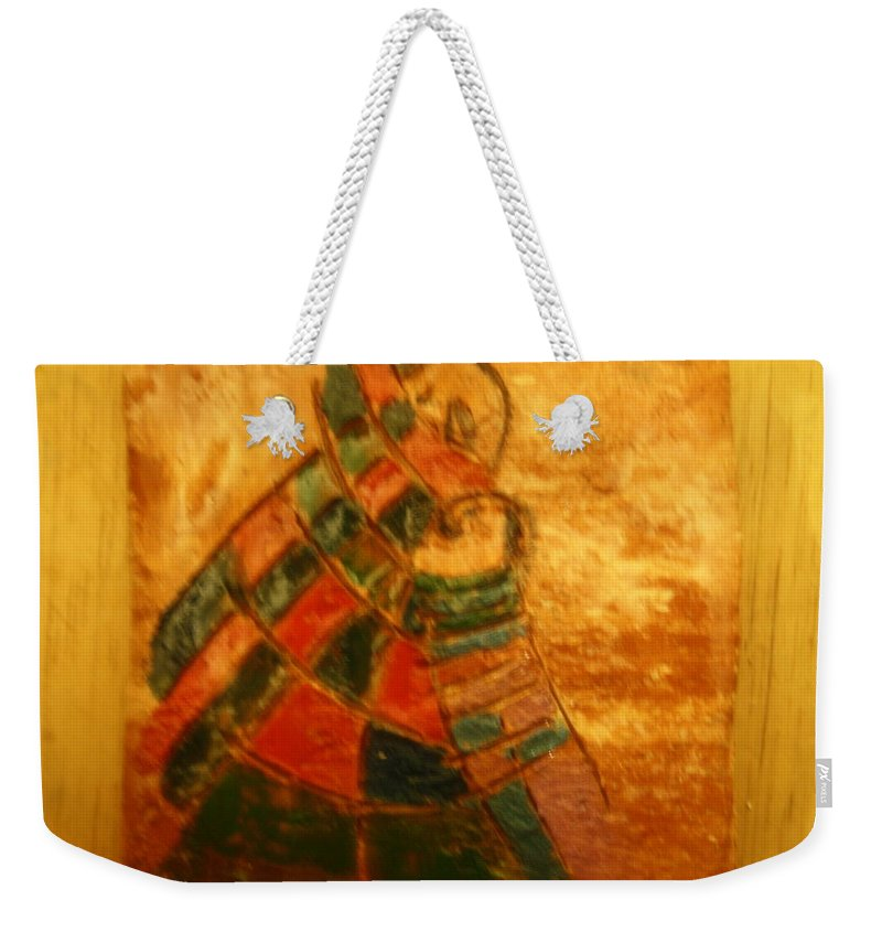 Jesus Weekender Tote Bag featuring the ceramic art Mums Warmth - Tile by Gloria Ssali