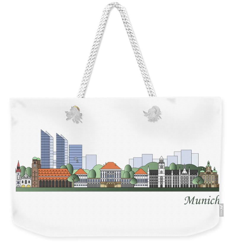 Munich Weekender Tote Bag featuring the painting Munich Skyline Colored by Pablo Romero