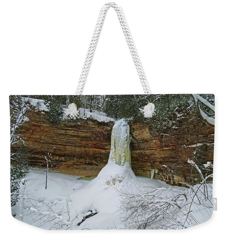 Landscape Weekender Tote Bag featuring the photograph Munising Falls Frozen by Michael Peychich