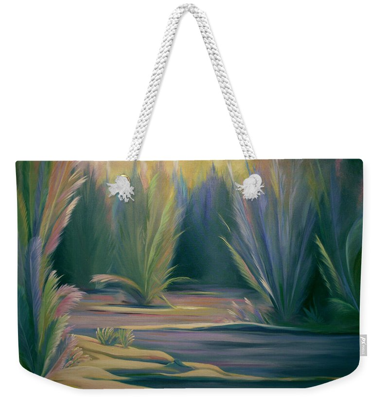 Feathers Weekender Tote Bag featuring the painting Mural Field Of Feathers by Nancy Griswold