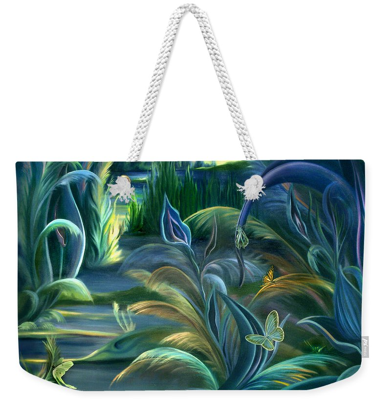 Mural Weekender Tote Bag featuring the painting Mural Insects Of Enchanted Stream by Nancy Griswold