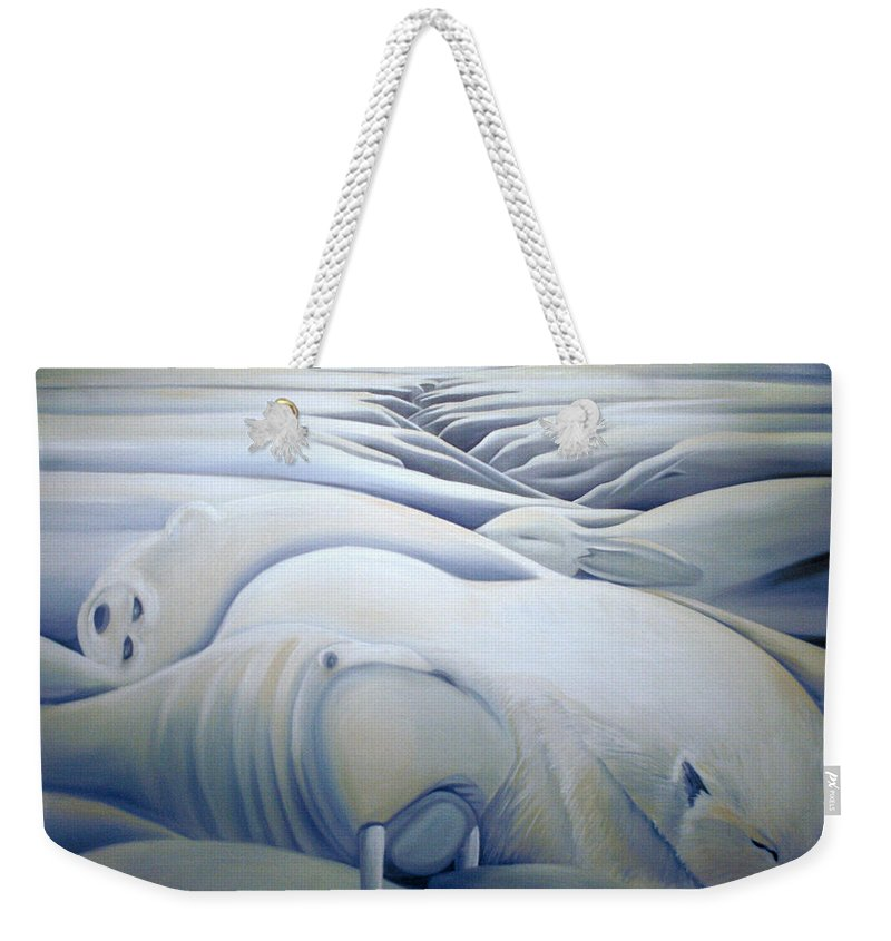 Mural Weekender Tote Bag featuring the painting Mural Winters Embracing Crevice by Nancy Griswold