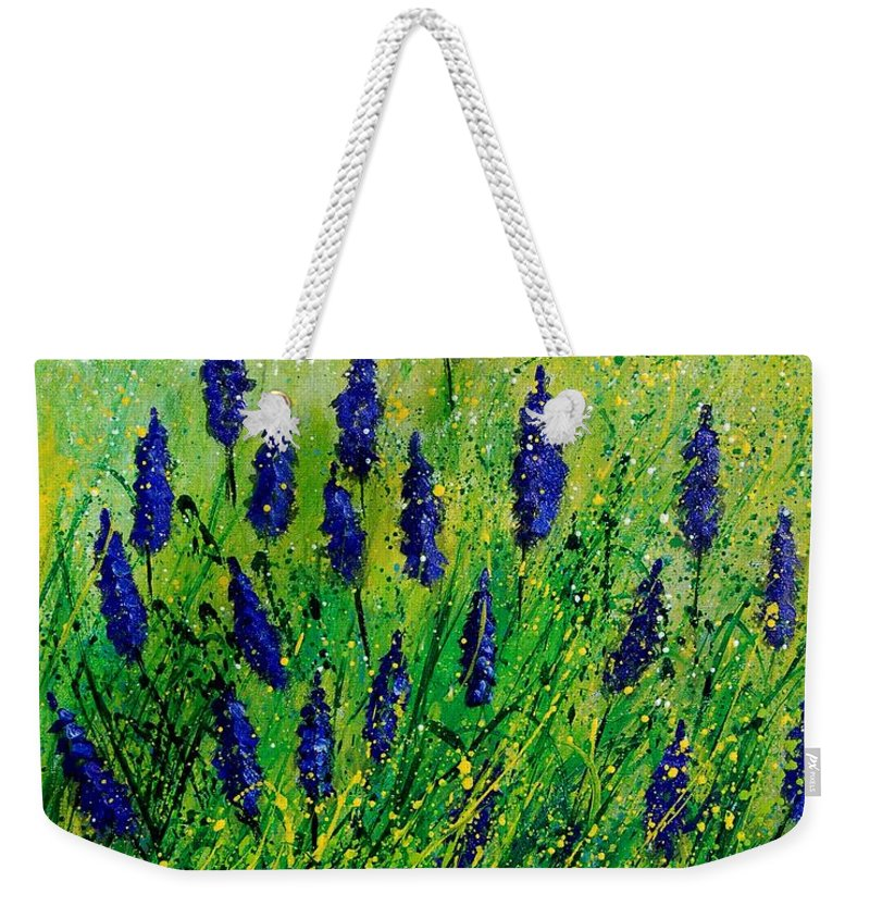 Flowers Weekender Tote Bag featuring the painting Muscaris 4590 by Pol Ledent