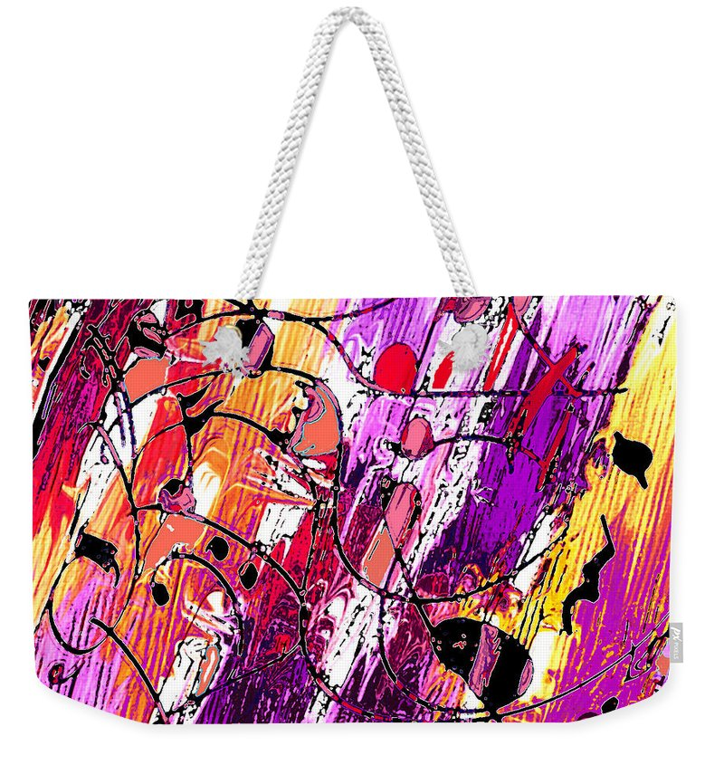 Abstract Weekender Tote Bag featuring the digital art Muse Fragments by Rachel Christine Nowicki