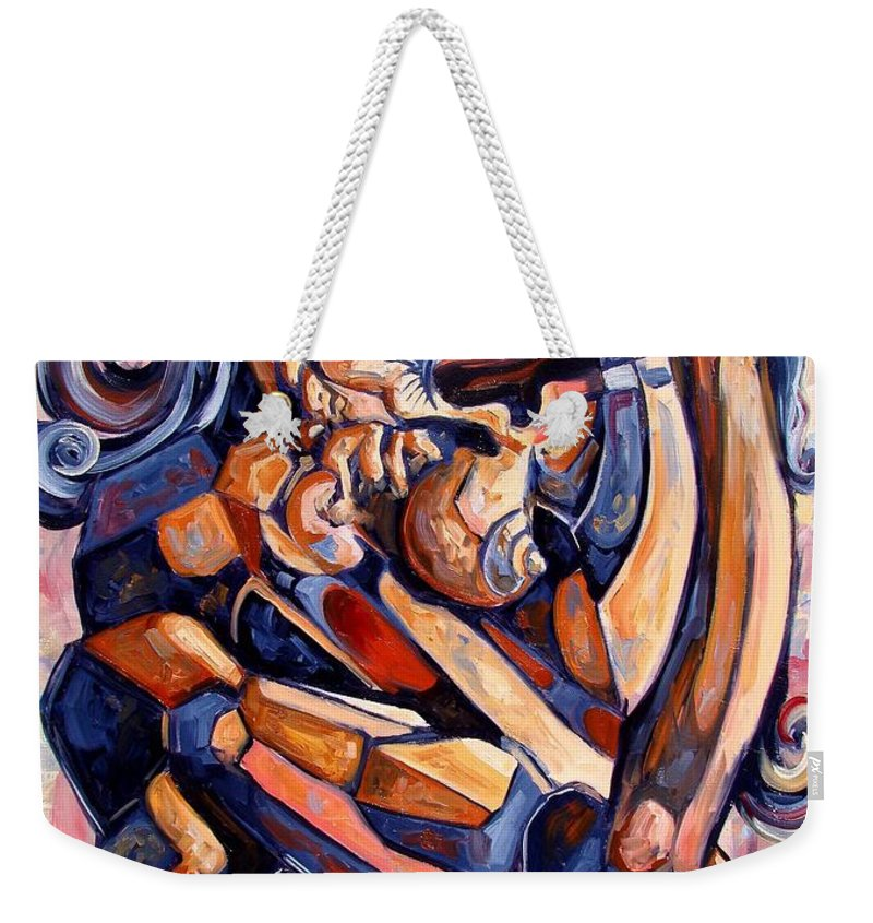 Surrealism Weekender Tote Bag featuring the painting Muse In A Box by Darwin Leon