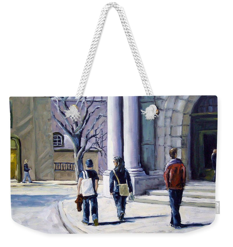 Urban Weekender Tote Bag featuring the painting Museum Walks by Richard T Pranke
