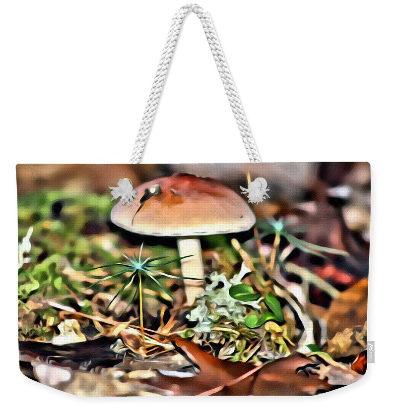 Mushroom Weekender Tote Bag featuring the photograph Mushroom And Moss by Modern Art