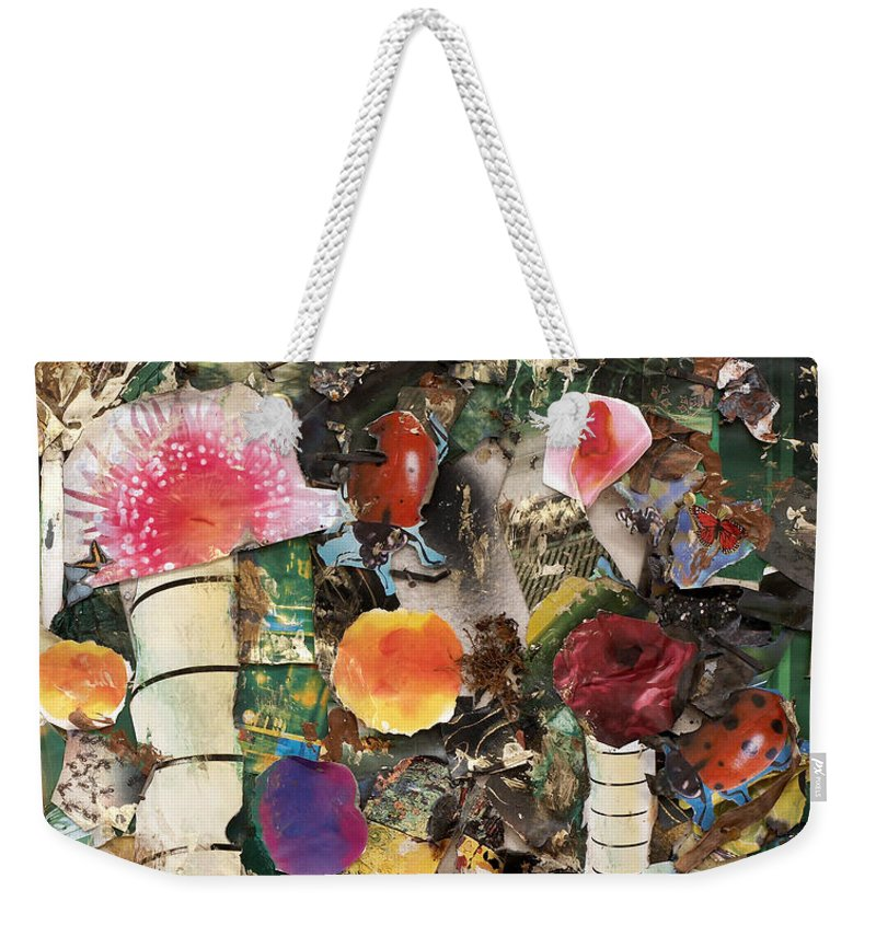 Abstract Weekender Tote Bag featuring the mixed media Mushroom by Jaime Becker