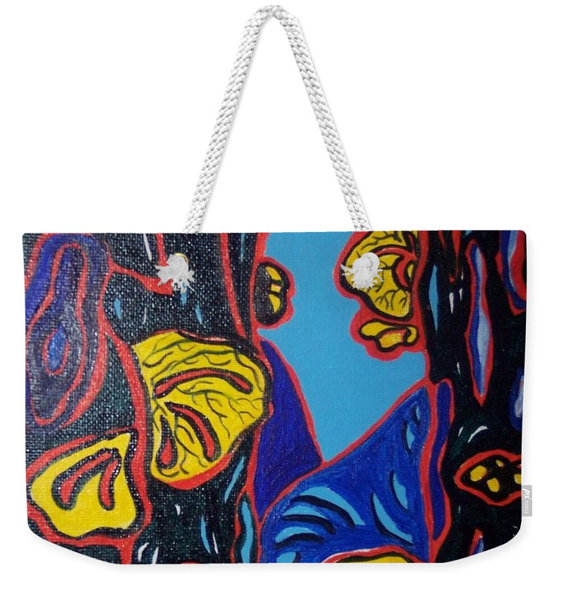 Abstract Paintings Weekender Tote Bag featuring the painting Mushroom On Trees by Seon-Jeong Kim